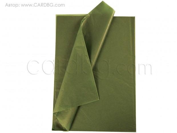 Хартия тишу цвят маслиненозелено 50х75 см, 20 листа в пакет