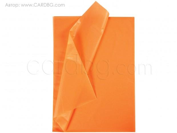 Цветна тишу хартия оранжева 50х75 см. 20 листа в пакет