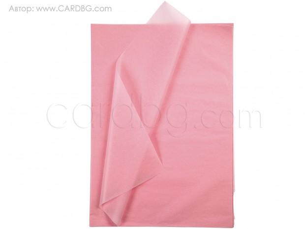 Хартия тишу пастелнорозова, 50х75 см, 20 листа в пакет