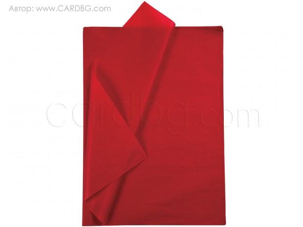 Хартия тишу тъмно червено, бордо р-р 50х76 см, 20 листа