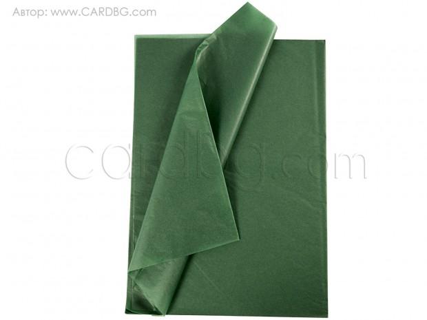 Тишу хартия тъмнозелен цвят 50х76 см, 20 листа в пакет