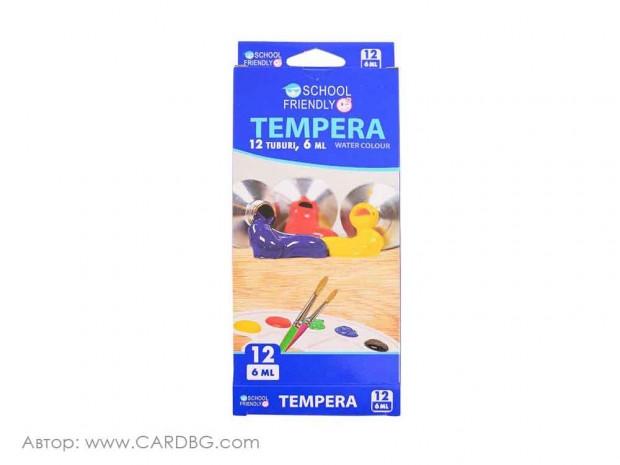 Темперни бои комплект 12 цвята, 6 мл
