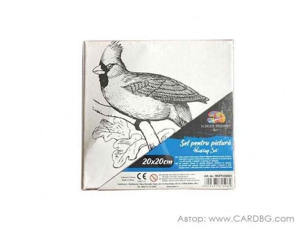 Картина за оцветяване, пано с готов контур на птица