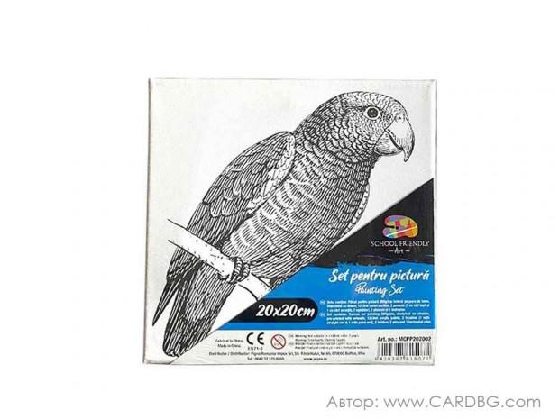 Картина за оцветяване, пано с контур на папагал