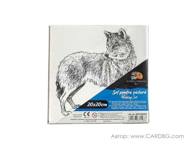 Картина за оцветяване, пано с рисунка на вълк
