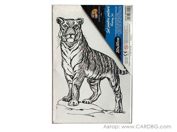 Картина за рисуване, пано с дървена рамка, Тигър, 20х30 см