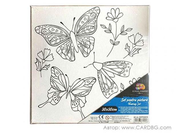 Картина за рисуване с пеперуди размер 30х30 см