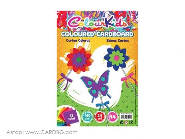 Цветен картон Colour Kids, 160 гр, 24 листа, А4