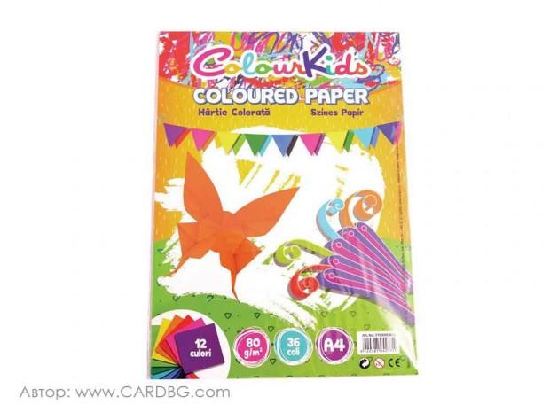 Цветна хартия Colour Kids, 80 гр, 36 листа, 12 цвята, А4
