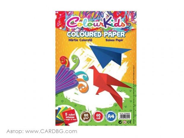 Цветна хартия Colour Kids, 80 гр, 60 листа, 7 цвята, А4
