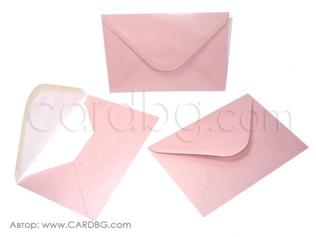 Пощенски плик перлен, розов, с лепило, С6
