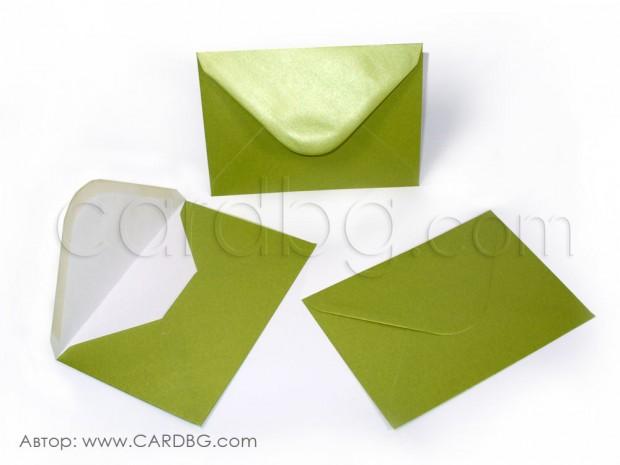Пощенски плик перлен, зелен, с лепило, С6