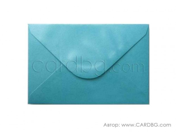 Пощенски плик перлен, цвят тюркоаз, с лепило, С6