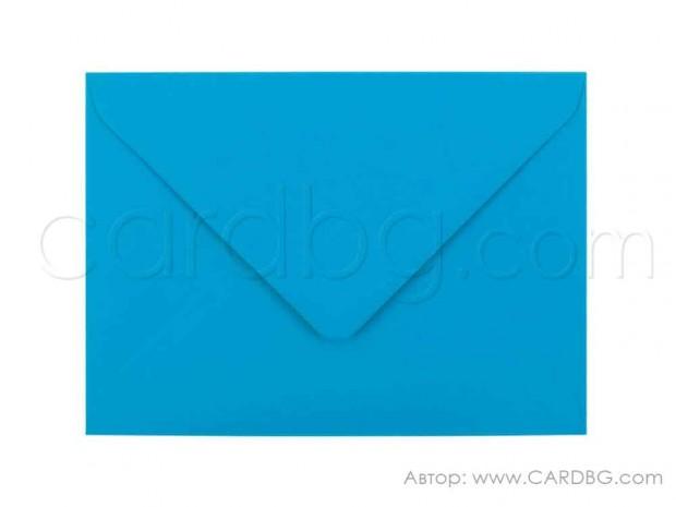 Пощенски плик за картички, покани, писма, ваучери, цвят син, размер 13х18 см