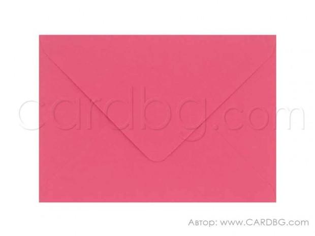Пощенски плик с триъгълен капак в цвят бонбонесто розов, размер 13х18 см