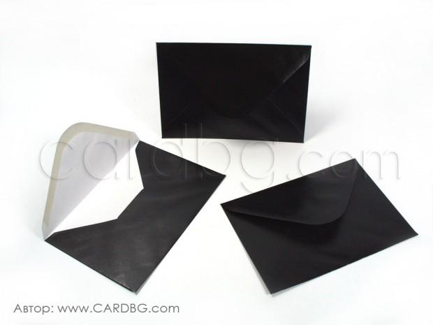 Пощенски плик перлен, черен, с лепило, С6