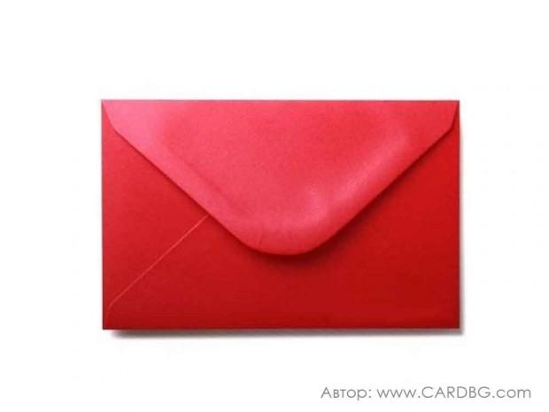 Пощенски плик перлен, червен, с лепило, С6