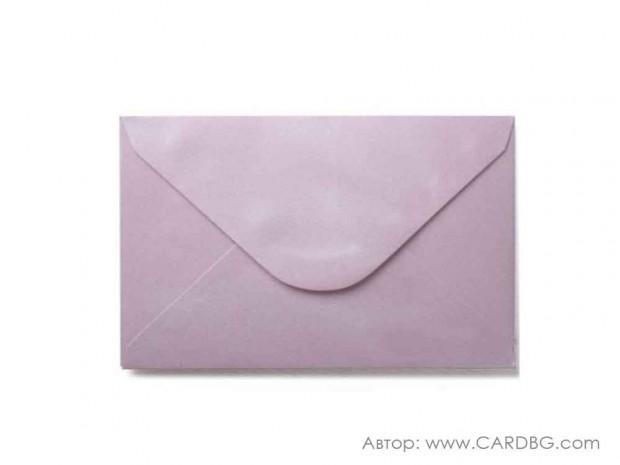 Пощенски плик перлен, лилав, с лепило, С6