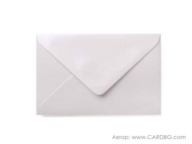 Пощенски плик перлен, седефено бял, с лепило, С6