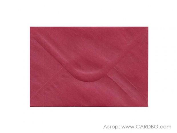 Пощенски плик перлен, бордо, с лепило, С6