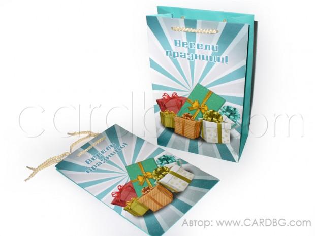 Коледна торбичка за подарък размер 16х27х10 см