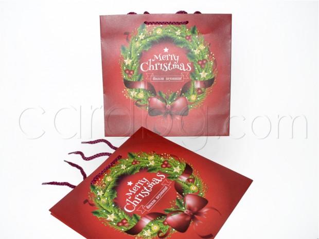 Коледна торбичка за подаръци среден квадрат 25х24х10 см