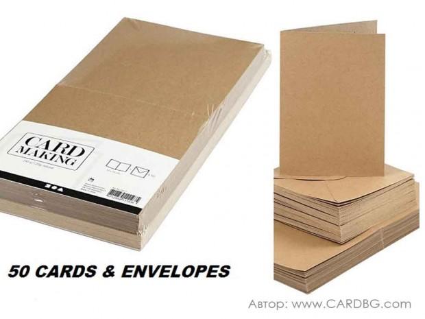 Основи за картички от рециклиран картон с плик формат А6, 10,5х15 см