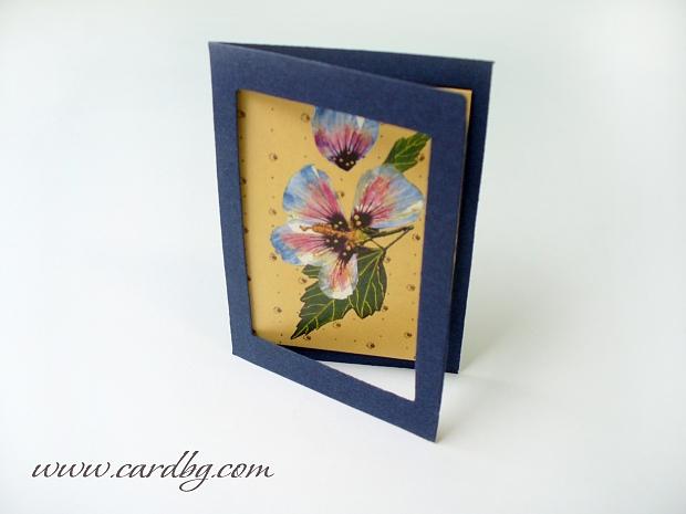 Мини картички с цветя в тъмно синя рамка № 04