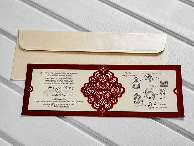 Изискани сватбени покани от кадифе в цвят бордо с лазерно изрязан дантелен елемент