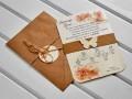 Покана за сватба с флорален принт в топли цветове, пръстен от крафт с лазерно изрязана пеперуда