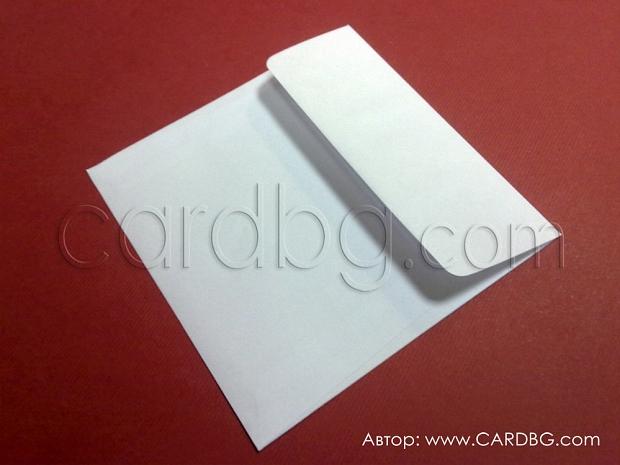 Бял пощенски плик квадратен без лепило размер 12х12 см.