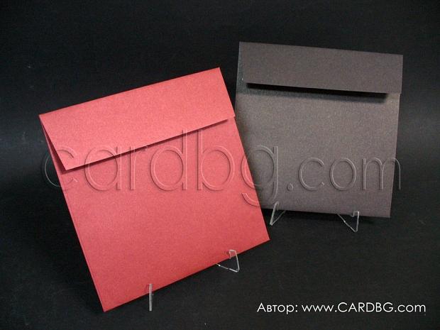 Луксозни перлени пликове тъмно кафяв и винен, размер 17х17см