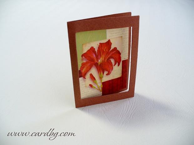 Малки картички в паспарту с цвете № 17