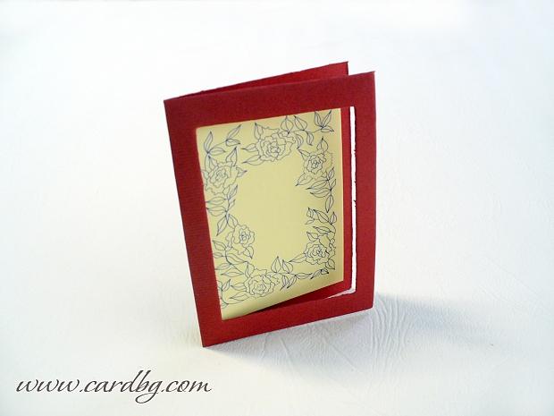 Мини картички двойни с червена рамка, сини цветя № 24