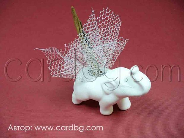 Слон керамичен с украса