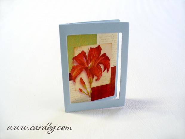 Мини картички с цвете в рамка № 30