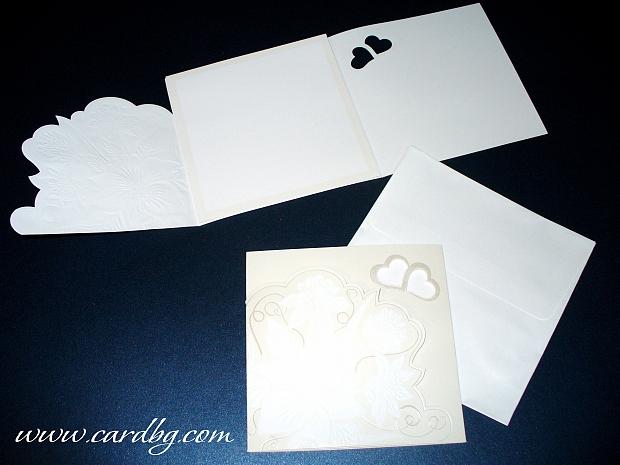 Стилна сватбена картичка № 30209