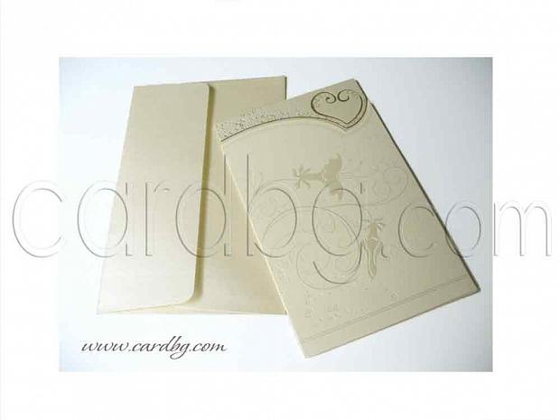 Перлена покана - папка със златисти елементи, цвят екрю № 30219