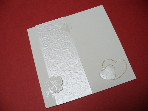 Елегантна сватбена картичка в бяло № 31304