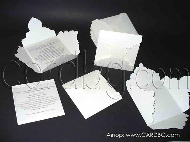 Луксозна сватбена покана в бяло с релефни елементи № 32419