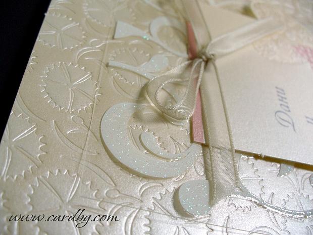 Сватбена покана в цветове корал, сьомга и екрю № 32429