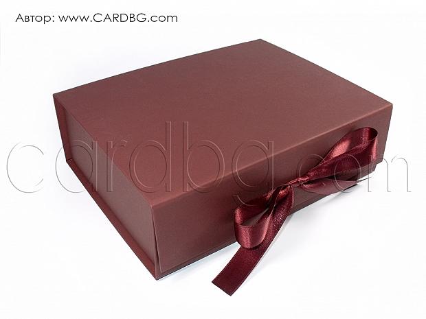 Луксозна кутия в цвят бордо, вишнев р-р 24х19х7,5 см код HCB 01 d