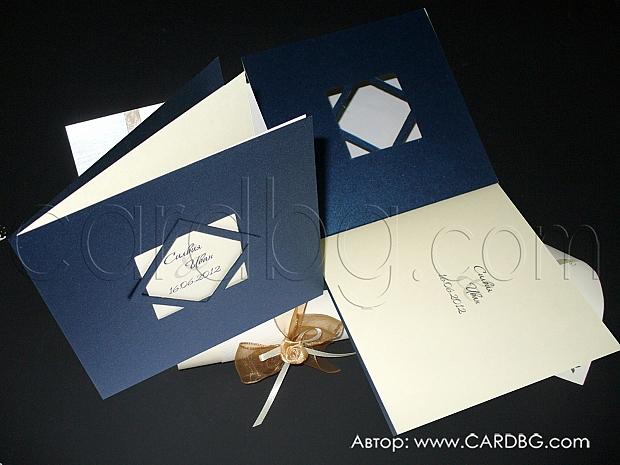 Луксозна покана за юбилей от нежно лилав перлен картон