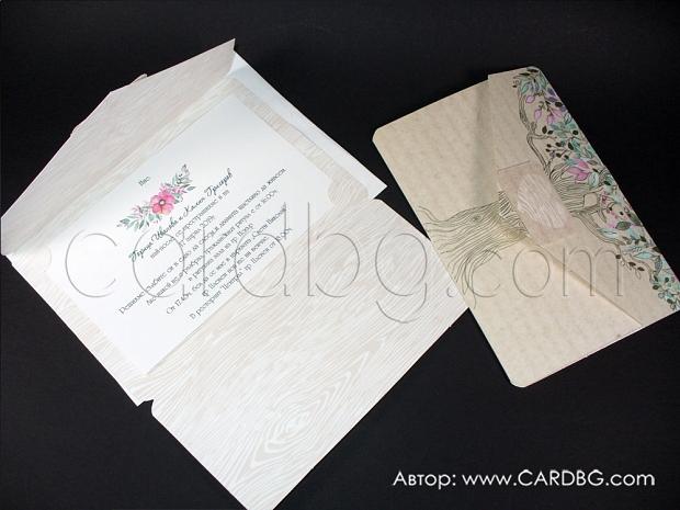 Покана за сватба в бежово-кафяво с дървото на живота и флорални цветни елементи в горната част