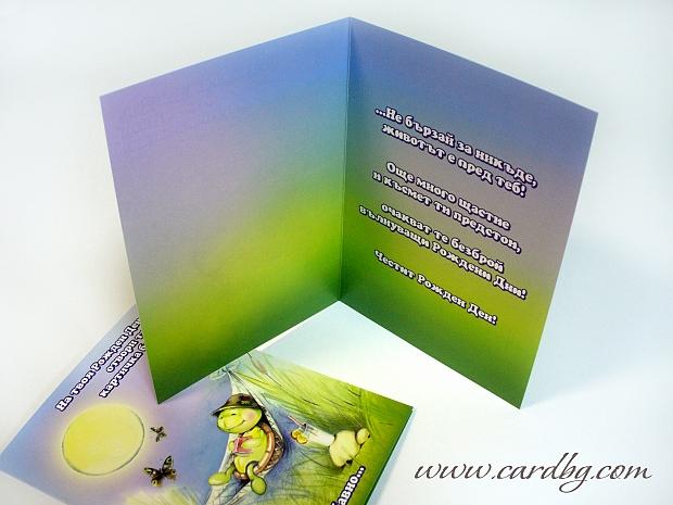 Картичка за рожден ден с костенурка със закачлив, ефектен текст № 70