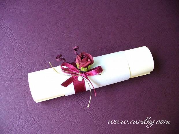 Сватбена покана с роза и сатен в цвят бордо, вишнево