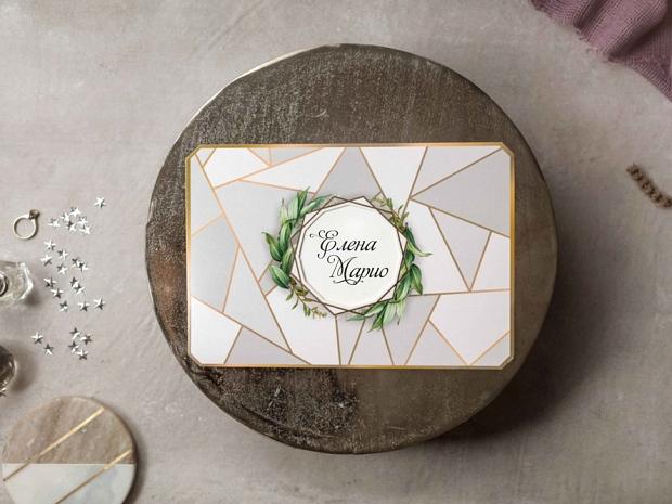 Сватбена покана с геометрични фигури и флорални елементи в сиво и златно