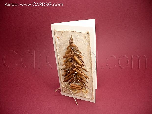 Коледна картичка елха от канелени пръчки