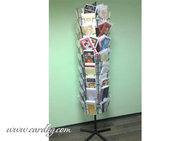 Метален въртящ стелаж, стойка за картички с 54 позиции /гнезда/
