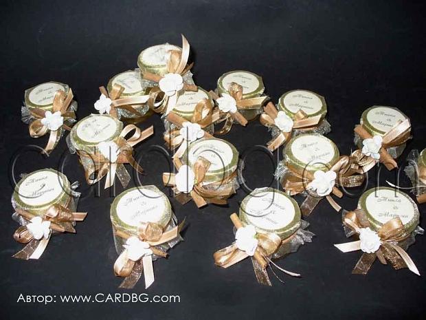 Подарък за гостите - бурканче с мед и украса 30 мл